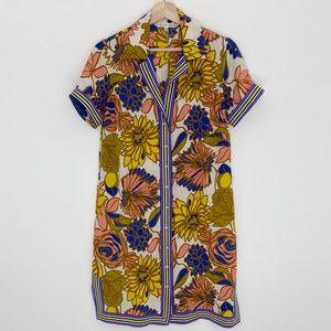 Trina Turk 100% Silk Floral Button Up Dress